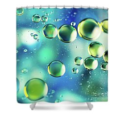 Shower Curtain featuring the photograph Macro Water Droplets Aquamarine Soft Green Citron And Blue by Sharon Mau