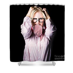 Mad And Angry Businesswoman Pulling Out Hair Shower Curtain by Jorgo Photography - Wall Art Gallery