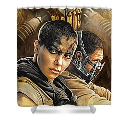 Shower Curtain featuring the painting Mad Max Fury Road Artwork by Sheraz A