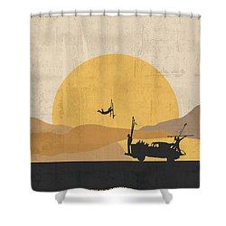 Shower Curtain featuring the painting Mad Max - Fury Road Poster by  Adam Asar