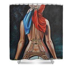 Madame Eiffel Shower Curtain by Jorge L Martinez Camilleri