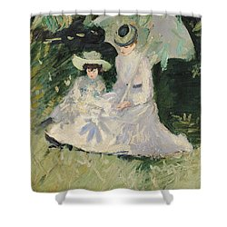 Madame Helleu And Her Daughter At The Chateau Of Boudran Shower Curtain by Paul Cesar Helleu