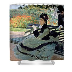 Madame Monet On A Garden Bench Shower Curtain by Claude Monet