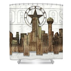 Made-to-order Dallas Texas Skyline Wall Art Shower Curtain
