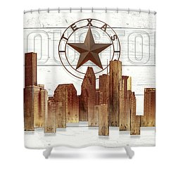 Made-to-order Houston Texas Skyline Wall Art Shower Curtain