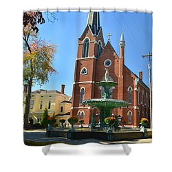 Madison Church And Water Fountain Shower Curtain
