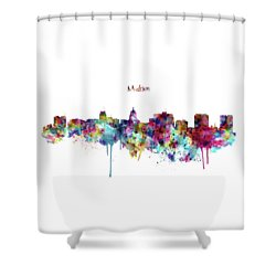 Shower Curtain featuring the mixed media Madison Skyline Silhouette by Marian Voicu