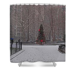 Madison Square Park In The Snow At Christmas Shower Curtain by Chris Lord