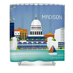 Madison Wisconsin Horizontal Skyline Shower Curtain