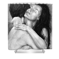 Madly In Love Couple- Black And White Drawing Shower Curtain