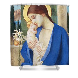 Madonna And Child Shower Curtain by Marianne Stokes