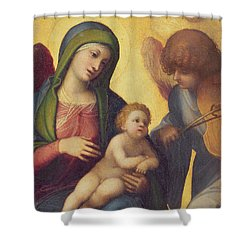 Madonna And Child With Angels Shower Curtain by Correggio