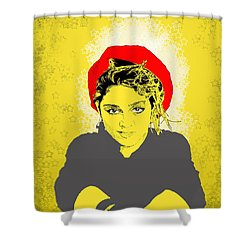 Madonna On Yellow Shower Curtain