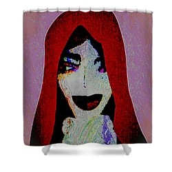 Shower Curtain featuring the mixed media Madonna Mary by Ann Calvo