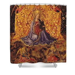 Madonna Of Humility With Christ Child And Angels Shower Curtain by Fra Angelico