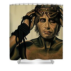 Mads Mikkelsen Painting Shower Curtain by Paul Meijering