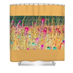 Magenta Bluebonnets Shower Curtain by Ellen O'Reilly