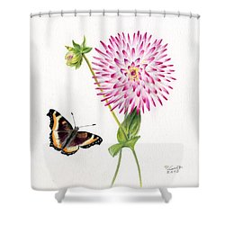 Magenta Dahlia With Butterfly Shower Curtain