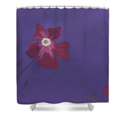 Magenta Flower On Plum Background Shower Curtain