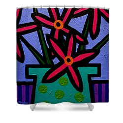 Magenta Flowers Shower Curtain by John  Nolan
