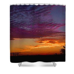 Shower Curtain featuring the digital art Magenta Morning Sky by Shelli Fitzpatrick