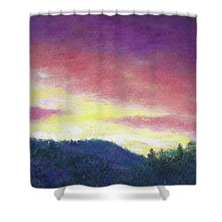 Magenta Sunset Oil Landscape Shower Curtain