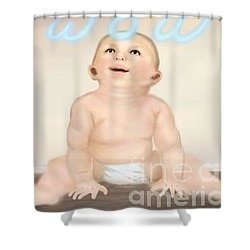 magic baby face-WOW Shower Curtain