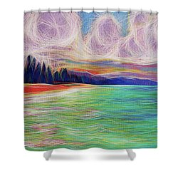 Shower Curtain featuring the painting Magic Beach by Angela Treat Lyon