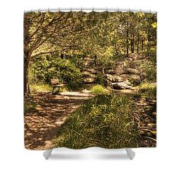 Magic Bench Shower Curtain by Tamyra Ayles