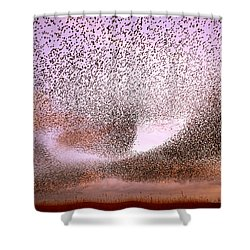 Magic In The Air - Starling Murmurations Shower Curtain by Roeselien Raimond