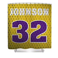 Magic Johnson Los Angeles Lakers Number 32 Retro Vintage Jersey Closeup Graphic Design Shower Curtain by Design Turnpike