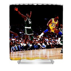 Magic Johnson No Look Pass 7a Shower Curtain by Brian Reaves