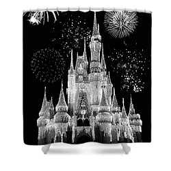 Magic Kingdom Castle In Black And White With Fireworks Walt Disney World Mp Shower Curtain
