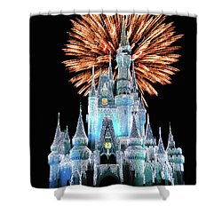 Magic Kingdom Castle In Frosty Light Blue With Fireworks 02 Mp Shower Curtain