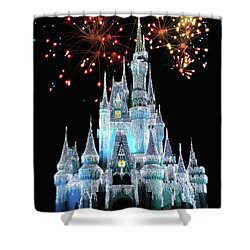 Magic Kingdom Castle In Frosty Light Blue With Fireworks 03 Mp Shower Curtain