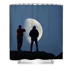 Magic Landscapes 2 -- Moon Men Shower Curtain by Rick Lawler