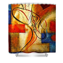 Magic Saxophone Shower Curtain by Leon Zernitsky