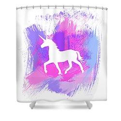 Magic Unicorn 1- Art By Linda Woods Shower Curtain