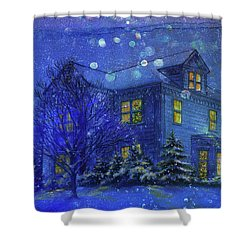 Shower Curtain featuring the painting Magical Blue Nocturne Home Sweet Home by Judith Cheng