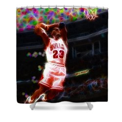 Magical Michael Jordan White Jersey Shower Curtain by Paul Van Scott
