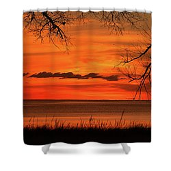 Magical Orange Sunset Sky Shower Curtain