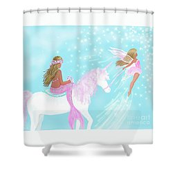 Shower Curtain featuring the painting Magical Play Day by Leslie Allen