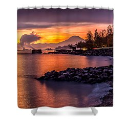 Magical Sunrise On Commencement Bay Shower Curtain by Rob Green