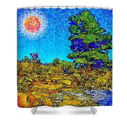 Shower Curtain featuring the digital art Sparkling Mountain Sunshine - Boulder County Colorado by Joel Bruce Wallach