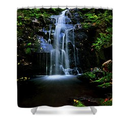 Magical Waterfall Above Spruce Falls In Tremont Smoky Mountains Tennessee  Shower Curtain