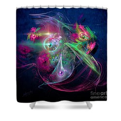 Shower Curtain featuring the painting Magnetic Fields by Alexa Szlavics