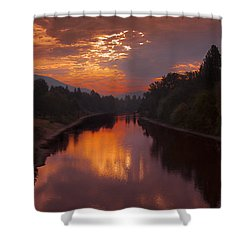 Magnificent Clouds Over Rogue River Oregon At Sunset  Shower Curtain