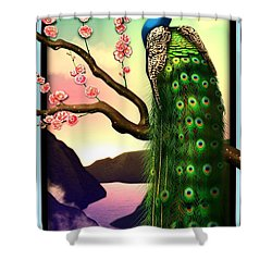Magnificent Peacock On Plum Tree In Blossom Shower Curtain