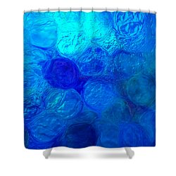 Magnified Blue Water Drops-abstract Shower Curtain