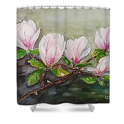 Magnolia Blossom - Painting Shower Curtain by Veronica Rickard